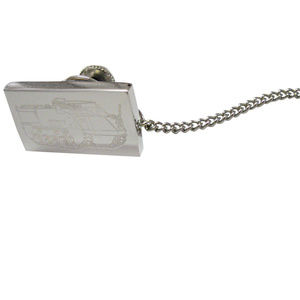 Silver Toned Etched Armored Vehicle Tie Tack